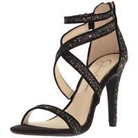 $98 size 8.5 Jessica Simpson Ellenie Black Glitter Strappy Heel Womens Sandals
