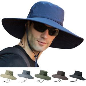 Men Women Wide Brim Sun Hat Bucket Cargo Safari Bush Boonie Outdoor Fishing Cap