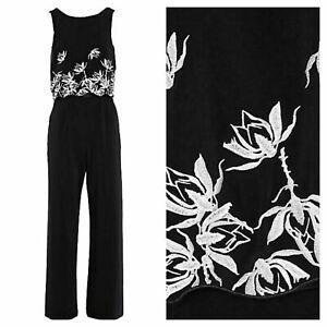 Kaleidoscope Size 10 black floating bodice Embroidered JUMPSUIT XMAS £115