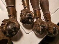 4 Antique Large Glass Ball & Claw Feet Gargoyle North Wind Faces flex shipping