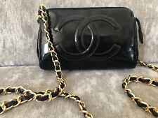 100% Authentic Chanel Black Patent Leather Cross Body Pouch On Chain