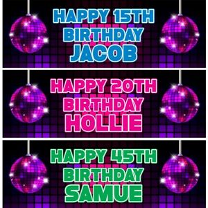 2 Personalised Disco Globe Birthday Party Celebration Banners Decoration Poster