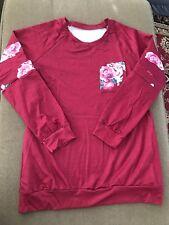 Women's Pullover Crewneck Burgundy Floral Sweatshirt Size Large (Lot B)