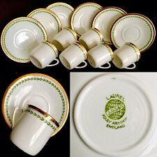 Six Rare Antique English J.G.S & Co Foley Bone China Demitasse Cups & Saucers