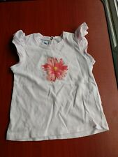 PETIT BATEAU Baby Girl pink t-shirt TOP with flowers 12 months 74 cm. Lovely