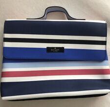 Kate Spade Lita Makeup/Travel Cosmetic Pouch White/Red/Blue Stripe