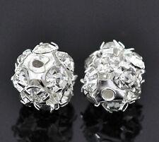 4 Rhinestone Beads Stunning and Ornate Filigree 8mm Balls SC1773