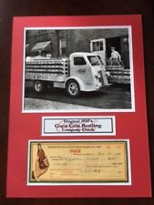 "1930's Coca-Cola Original Check w/ Vintage Photo, 12""x15"" Matted"