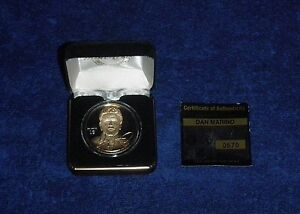 DAN MARINO DOLPHINS.999 FINE SILVER ROUND W/ 24KT GOLD HIGHLAND MINT COIN 1/1500