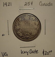 C Canada George V 1921 Silver Twenty Five Cents - VG