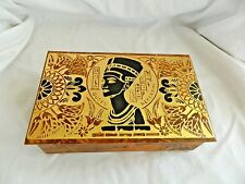 "Medium Egyptian Leather Jewelry Box With Queen Nefertiti Design 7.5"" X 4.75"""