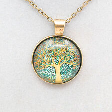 1× Bronze Tree of Life Vintage Cabochon Bronze Glass Chain Halsketten & Anhänger