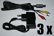 3 x Netzteil + TV AV Kabel Super Nintendo SNES Stromkabel Fernsehkabel Chinch