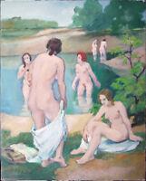 Paul Fischer 1873-1970: Badende Ostsee Nidden 1920er Jahre Ölgemälde Strand Meer