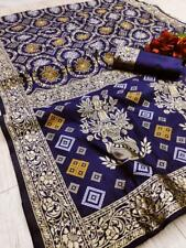 Blue Wedding Designer Traditional Banarasi Silk Sari Indian Bandhani Saree