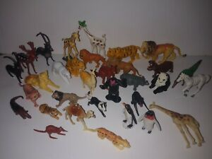 1970s Lot of Plastic Hong Kong & Singapore Marked Toy Zoo & Wild Animal Figures