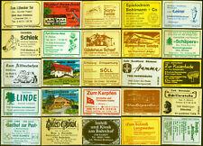 25 alte Gasthaus-Streichholzetiketten aus Deutschland #873
