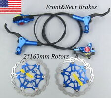 MTB bike Hydraulic Disc Brakes Calipers Front Rear brake lever Rotors 160mm Blue