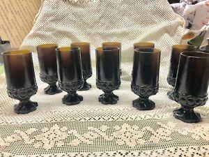 Lot 10 Vintage Gothic Dark Brown HEAVY Water Drink Glasses Bar Tavern Pedestal