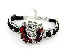 NEW Viennois Rose Flower Bracelet Rhinestones Silver Lobster Hook Bangle Womens
