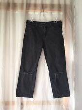 NWT ASOS PETITE Black Thea Mid Rise Girlfriend Jeans w/ Ripped Knees W28 L28