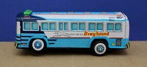 "Tin Litho Battery Op New York Greyhound ""Fishbowl""  Bus 9"" Taiwan Exc 70s"