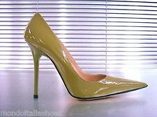 MORI MADE IN ITALY POINTY HIGH HEELS PUMPS SCHUHE LEATHER DECOLTE GREEN VERDE 36
