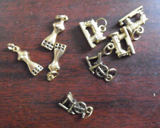 Lot of 8 Vintage Gold Metal Sewing MAchine Dress Forms Spinning Wheel Charms