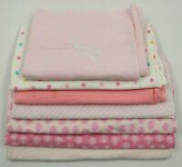 Multi Brand Baby Girl Pink Receiving Swaddling Blankets Lot 7