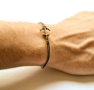 Anchor cord bracelet for men bronze anchor black cord mens jewelry gift for him