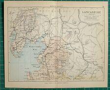 1882 SMALL ANTIQUE COUNTY MAP ~ LANCASHIRE LANCASTER BARROW KENDAL GARSTANG