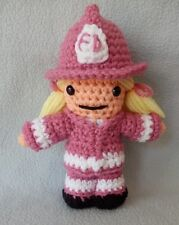 "Amigurumi Hand Crocheted Firefighter Girl Boy 7"" Doll Hat Jacket Choose colors"