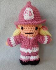 "Amigurumi Hand Crocheted Firefighter Girl Boy 7"" Doll Hat Jacket Choose colors"