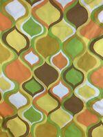 Vtg. Cannon Monticello Mod Retro Print Orange Green Yellow Full Flat Sheet
