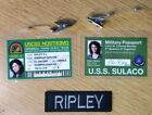 Aliens Ripley cosplay set 2 Id badges and a name patch