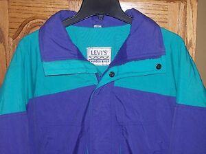 VTG LEVIS Thunder River Coat Insulated Snow Ski Jacket sz Med. Purple/Aqua Hood