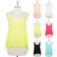 High Low Hem Solid Sleeveless Scoop Neck Contrast Top Casual Cute Span S M L