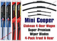 2010-2012 Mini Cooper Clubman 4-Door Wagon Wipers 4pk Front/Rear 16190/180+12Ix2