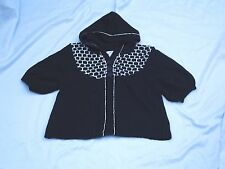 SO.. Black w/ White Cropped Hooded Sweater Sz L NEW