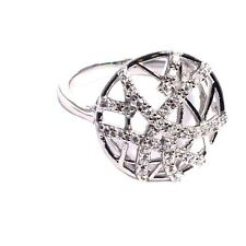 White CZ Abstract Stars Filigree Open Circle Sterling Silver Ring Size 9