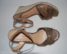 "WOMENS SHOES Strappy Sandals MOCK SNAKESKIN Brown 3"" WEDGE HEEL Open Toe  5.5"