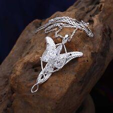 Fine 925 Sterling Silver LOTR Arwen Evenstar Zircon Pendant Necklace Nice Gift
