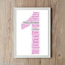 Parola di compleanno ART PRINT 1st 2 3 5 10 13 qualsiasi età maschietto o femminuccia Ideale Regalo