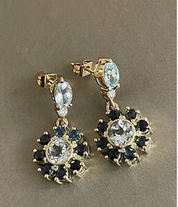 14ct Yellow Gold Diamond Sapphire Earrings Drop Dangle With Aquamarine Cocktail