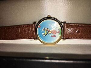 Goofy Golfing Watch Disney Artist Working Second Hand Vintage Rare In Case