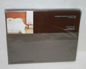 Hudson Park 600TC Egyptian Cotton Solid Dark Brown TWIN Flat Sheet MINK Taupe