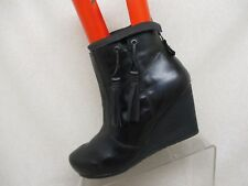 OTBT Black Leather Zip Fringe Wedge High Ankle Boots Bootie Size 10 M