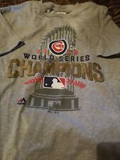 Chicago Cubs 2016 World Series Champions Men Short Sleeve Tshirt Color Grey Size