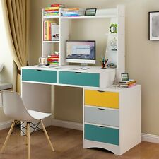 """47"""" Computer Desk with 5 Drawers & Open Shelf Hutch Storage Table Home Office Us"""