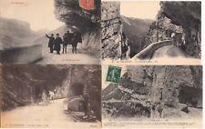 Lot 4 cartes postales anciennes DRÔME route des grands goulets 18